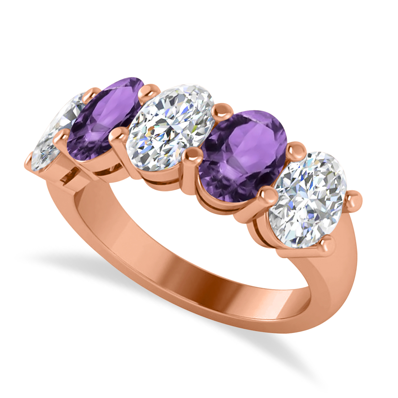 Oval Diamond & Amethyst Five Stone Ring 14k Rose Gold (4.70ct)