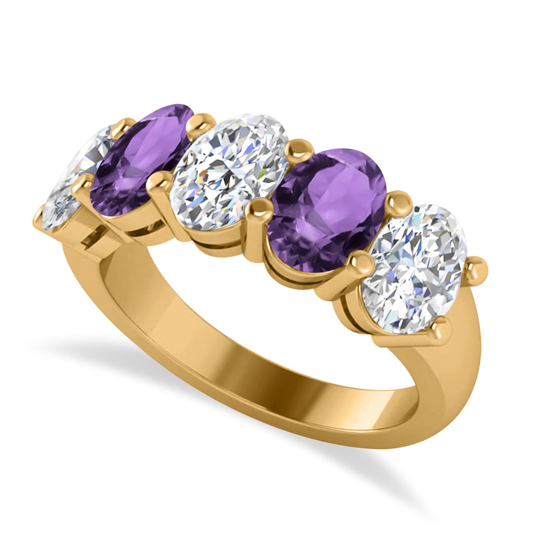 Oval Diamond & Amethyst Five Stone Ring 14k Yellow Gold (4.70ct)