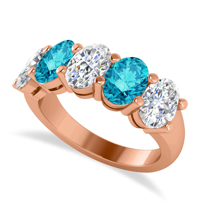 Oval Blue & White Diamond Five Stone Ring 14k Rose Gold (5.00ct)