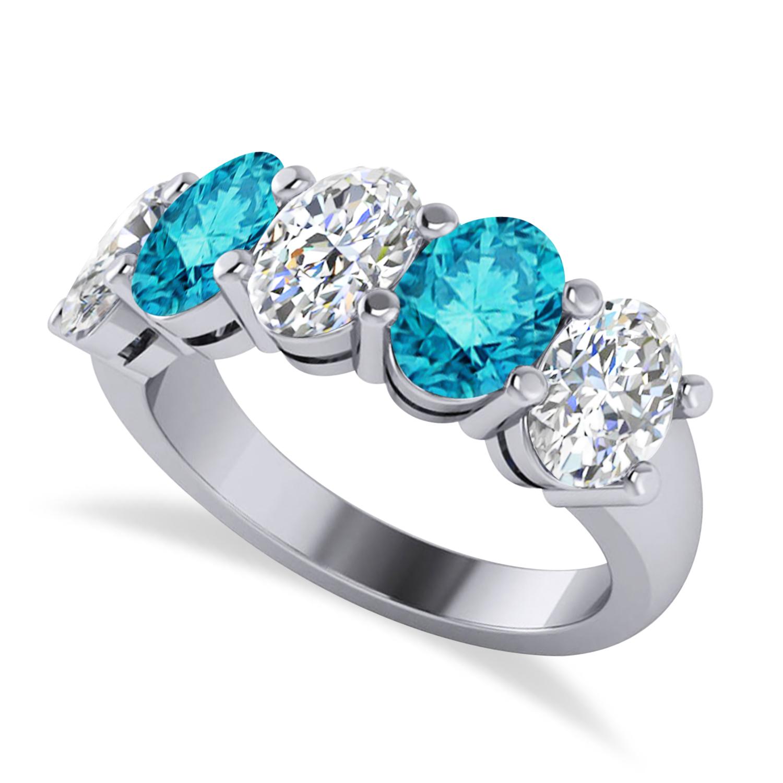 Oval Blue & White Diamond Five Stone Ring 14k White Gold (5.00ct)