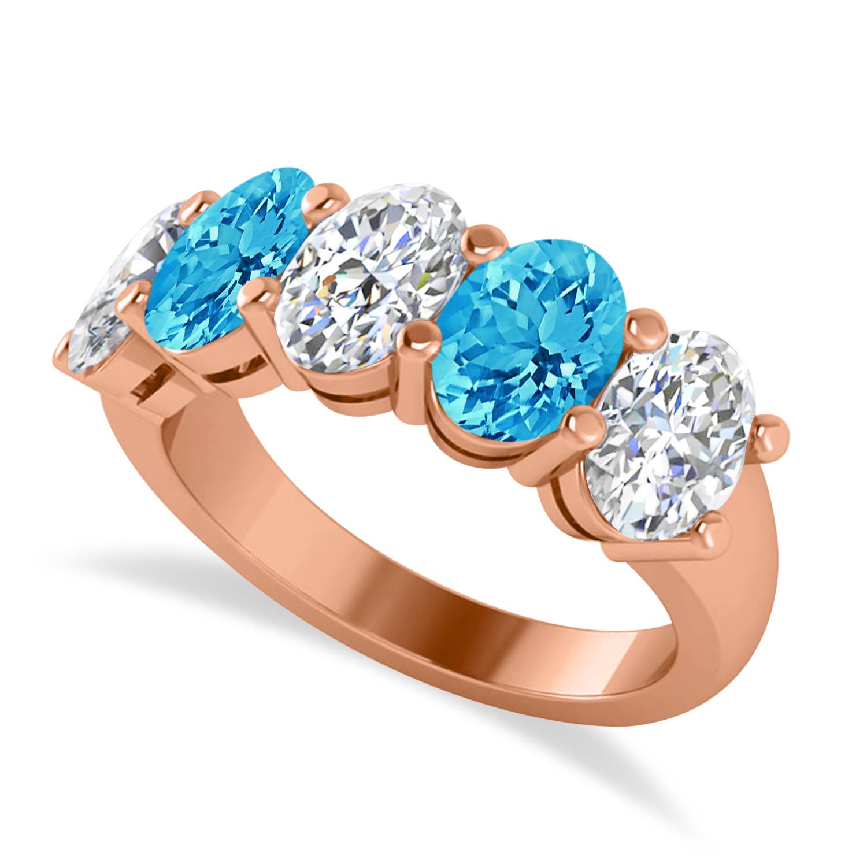 Oval Diamond & Blue Topaz Five Stone Ring 14k Rose Gold (5.20ct)