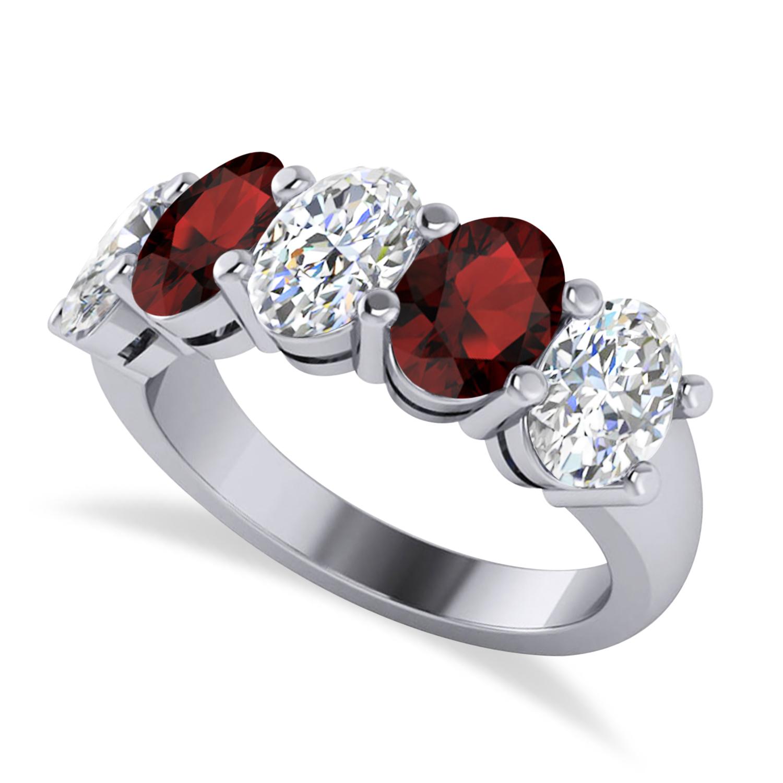 Oval Diamond & Garnet Five Stone Ring 14k White Gold (5.00ct)