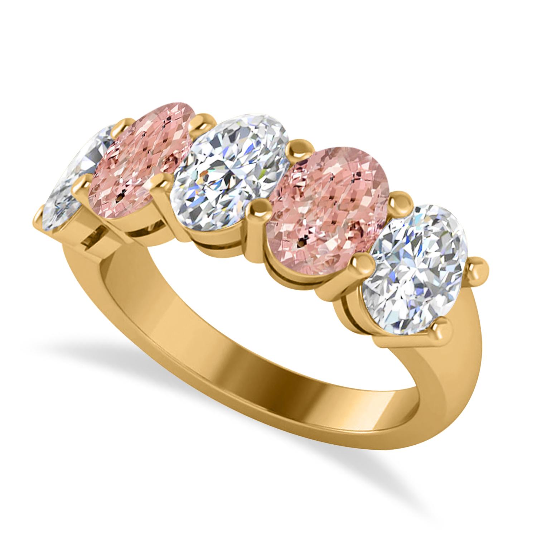 Oval Diamond & Morganite Five Stone Ring 14k Yellow Gold (4.50ct)
