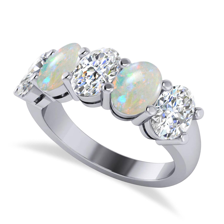 Oval Diamond & Opal Five Stone Ring 14k White Gold (4.00ct)