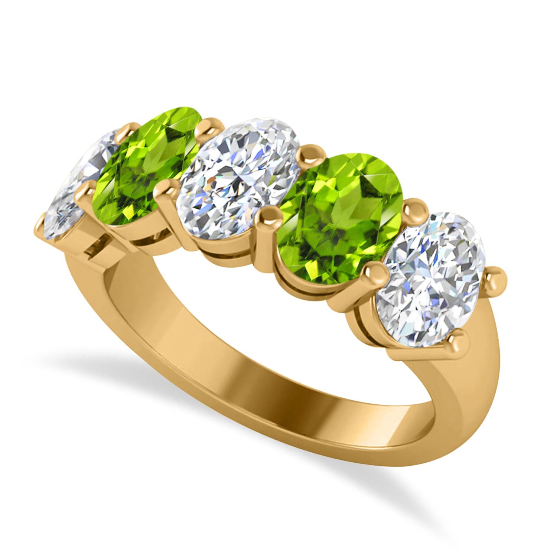 Oval Diamond & Peridot Five Stone Ring 14k Yellow Gold (4.90ct)