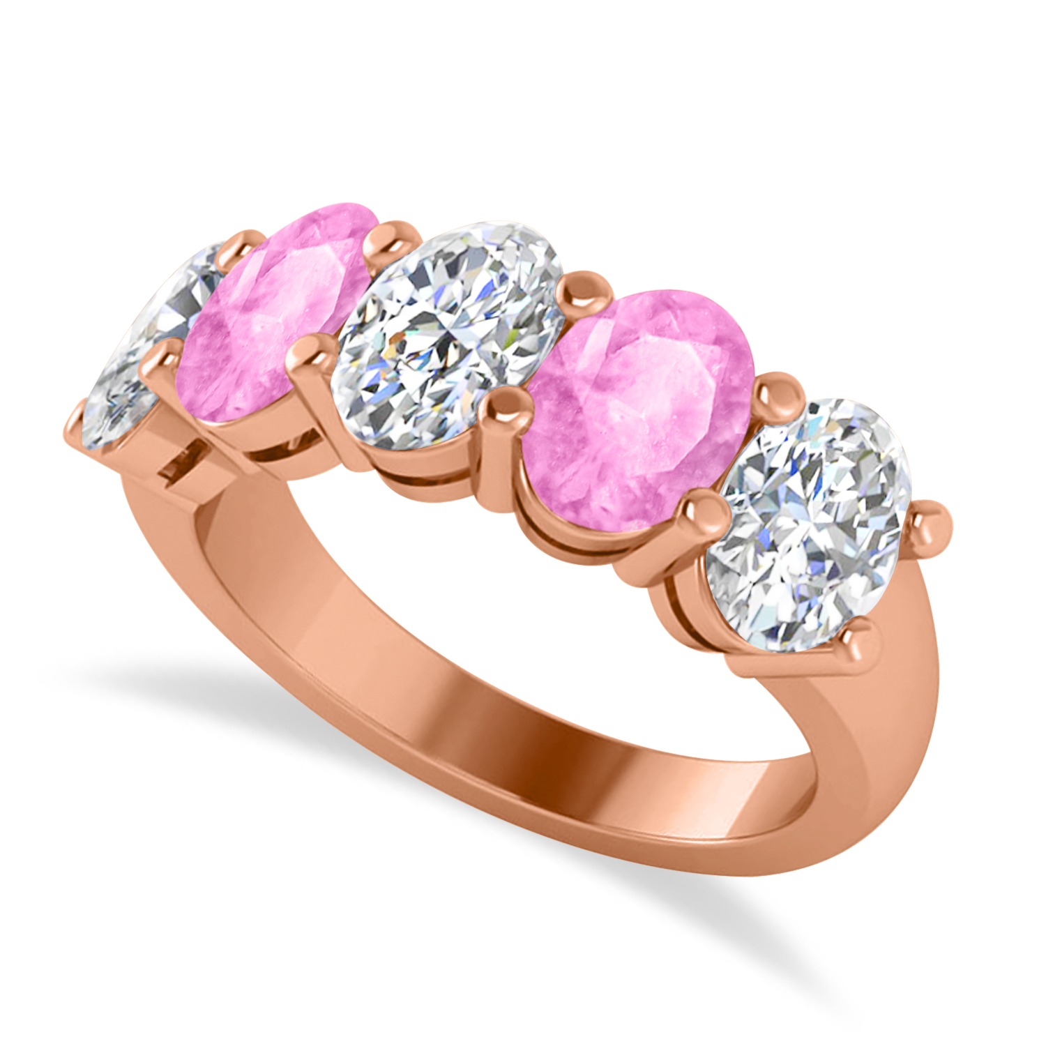 Oval Diamond & Pink Sapphire Five Stone Ring 14k Rose Gold (5.00ct)