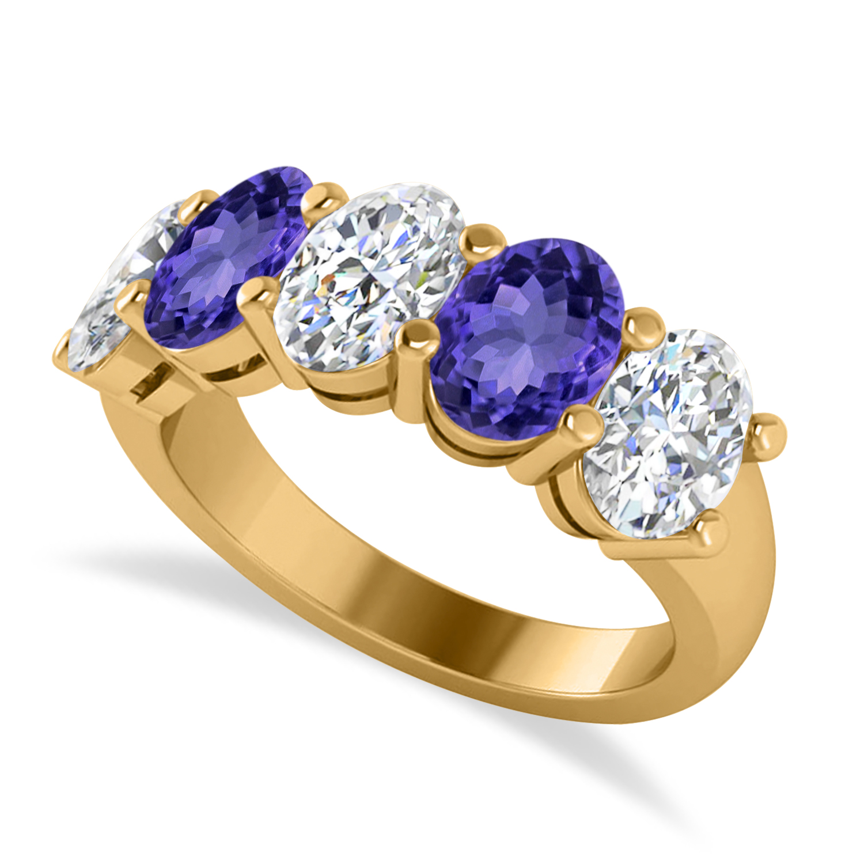 Oval Diamond & Tanzanite Five Stone Ring 14k Yellow Gold (5.00ct)
