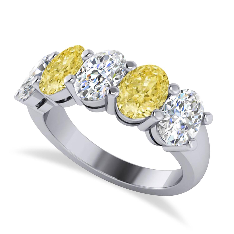 Oval Yellow & White Diamond Five Stone Ring 14k White Gold (5.00ct)