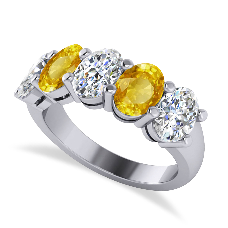 Oval Diamond & Yellow Sapphire Five Stone Ring 14k White Gold (5.00ct)