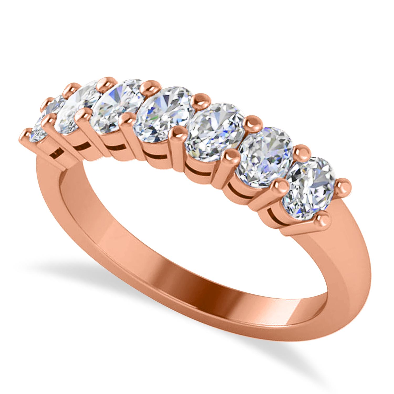 Oval Diamond Seven Stone Wedding Band 14k Rose Gold (1.40ct)
