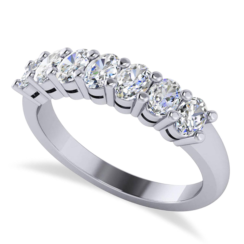 Oval Diamond Seven Stone Wedding Band 14k White Gold (1.40ct)