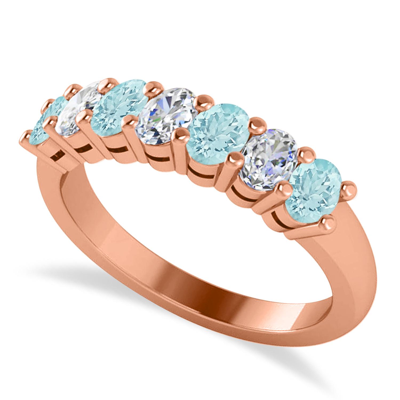 Oval Diamond & Aquamarine Seven Stone Ring 14k Rose Gold (1.40ct)
