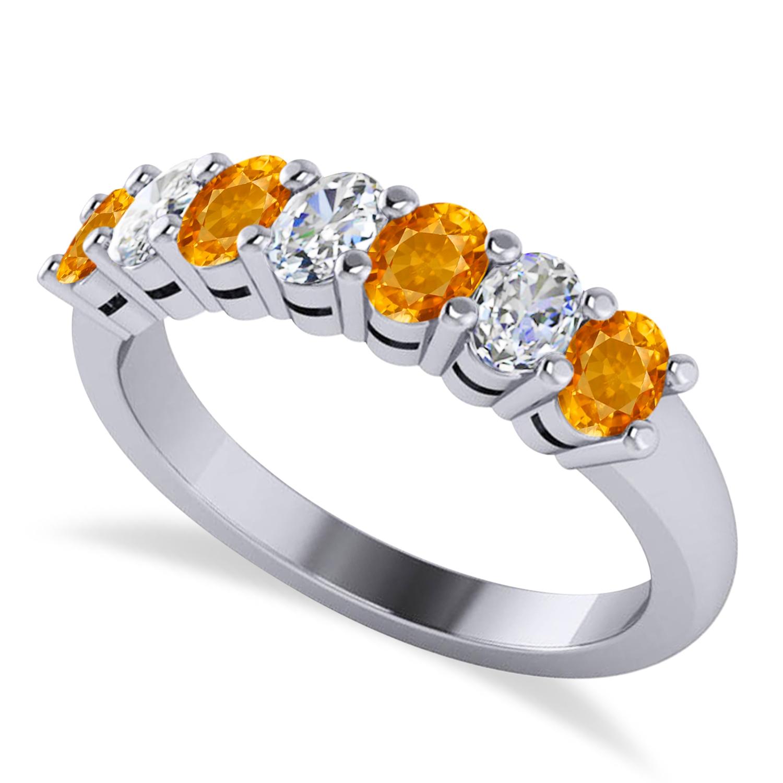 Oval Diamond & Citrine Seven Stone Ring 14k White Gold (1.40ct)