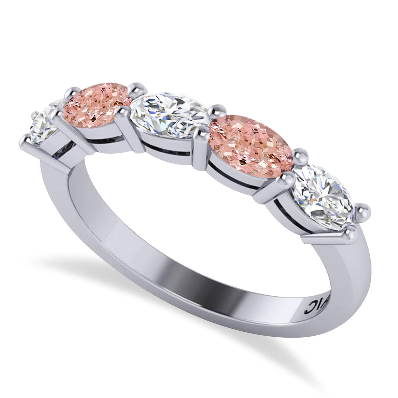 Oval Diamond & Morganite Five Stone Ring 14k White Gold (1.25ct)