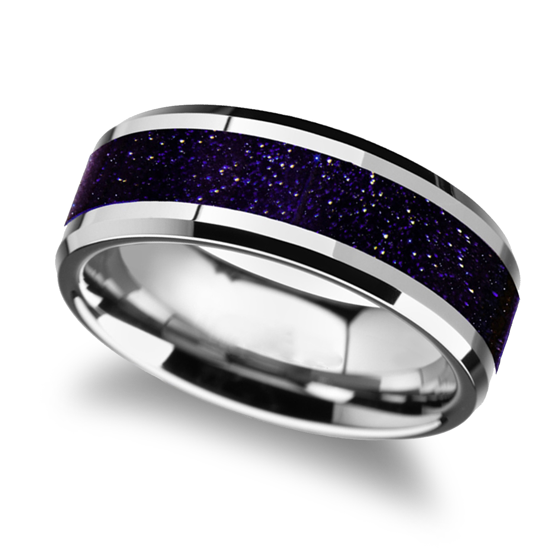 Beveled Tungsten Wedding Band w/ Purple Goldstone Inlay (8MM)
