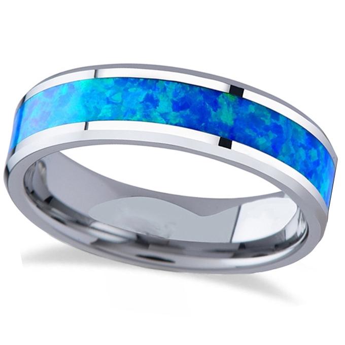 Blue Green Opal Inlay Tungsten Wedding Band (6mm)
