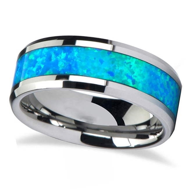 Blue Green Opal Inlay Tungsten Wedding Band (8mm)