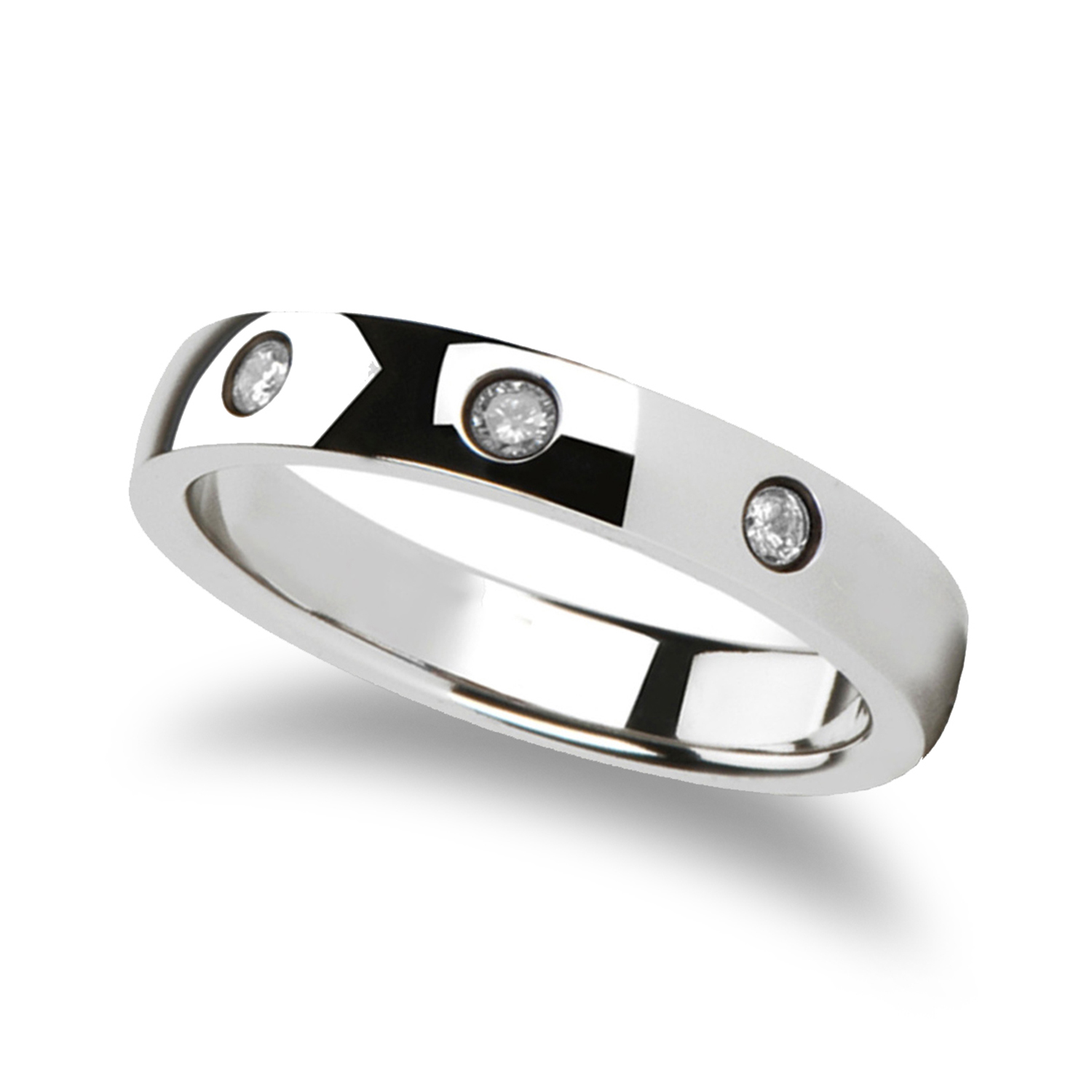 Rounded White Tungsten Carbide Ring w/ 3 Diamonds 0.10ct (4MM)