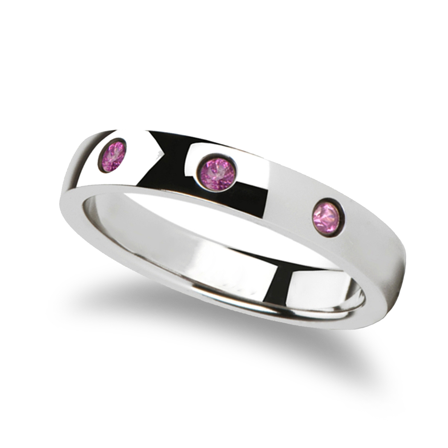 Rounded White Tungsten Wedding Band w/ 3 Pink Sapphires 0.10ct (4MM)