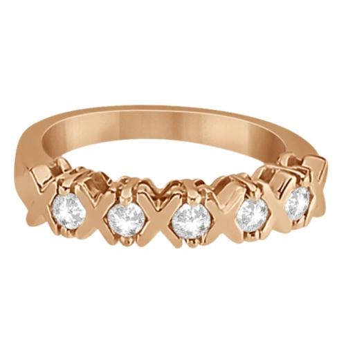 Five Stone XOXO Diamond Ring Anniversary Band 14k Rose Gold (0.75ct)