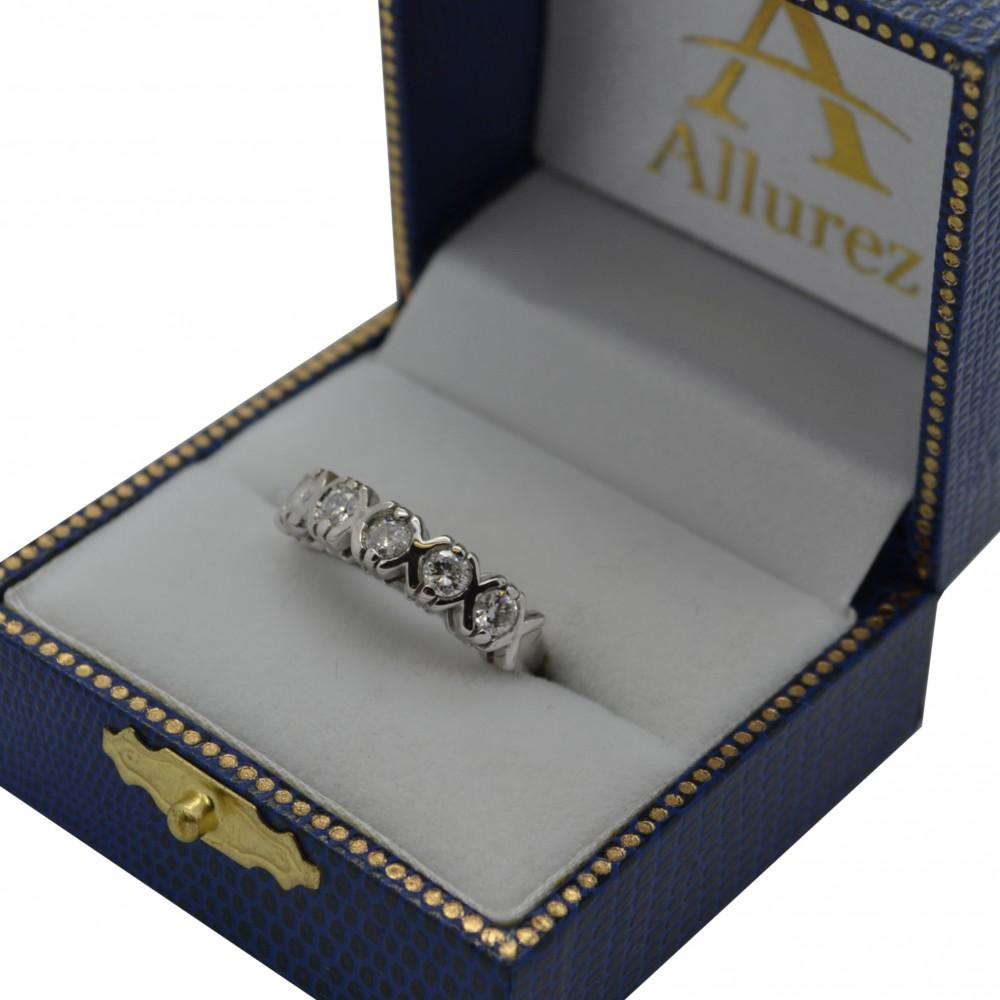 Five Stone XOXO Diamond Ring Anniversary Band 18k White Gold (0.75ct)