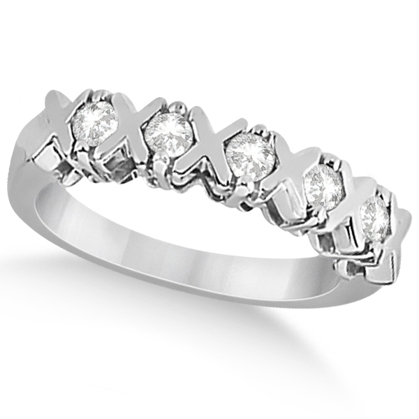 Five Stone XOXO Diamond Ring Anniversary Band Platinum (0.75ct)