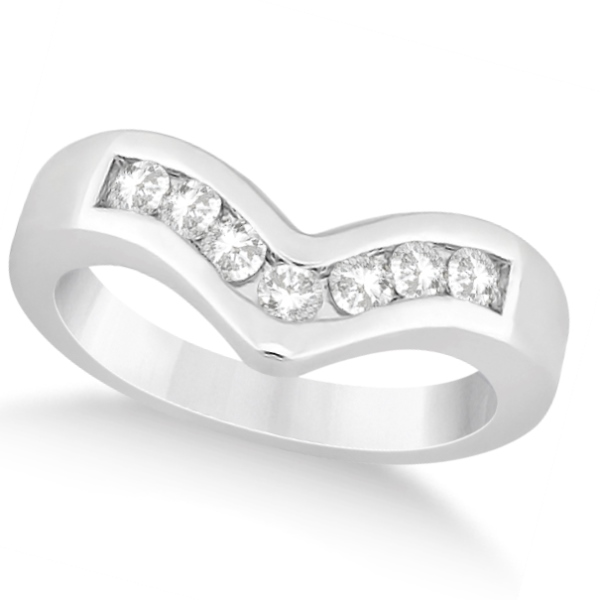Diamond Chevron Ring Channel Set V Shaped Band 14K White Gold 0.35ctw