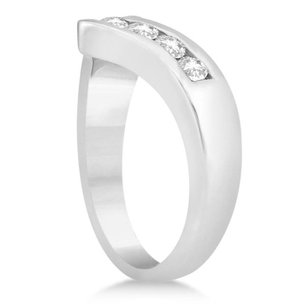 Diamond Chevron Ring Channel Set V Shaped Band 14K White Gold 0.35ctw