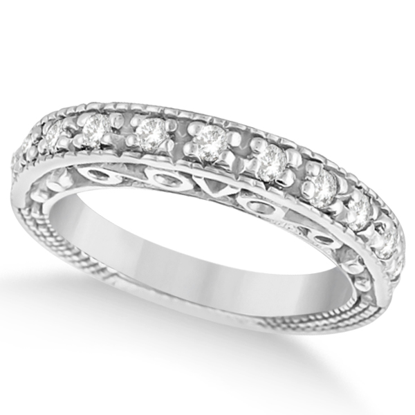 Designer Infinity Carved Diamond Ring w/ Scrollwork in 14K W. Gold (0.21ct)