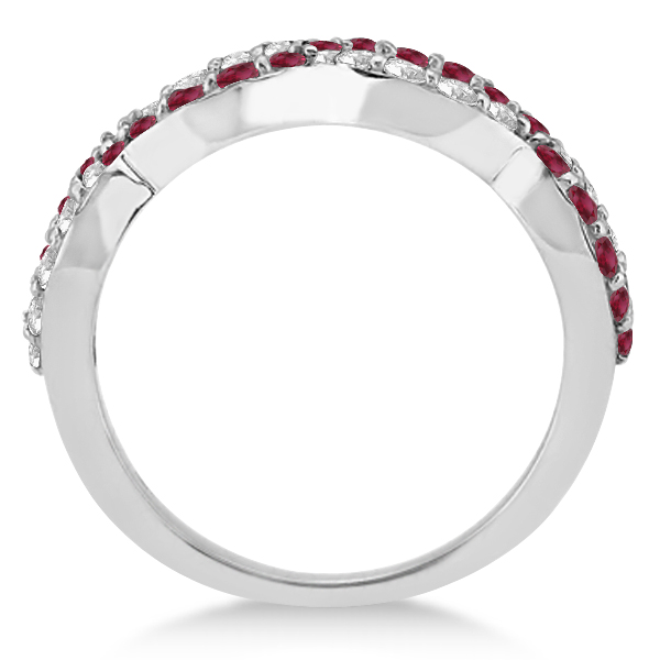 Ruby Twisted Infinity Diamond Ring in 14k White Gold (1.09ct)