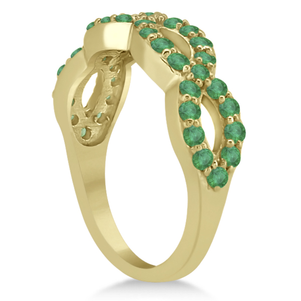 Pave Set Twisted Infinity Emerald Ring Band 14k Yellow Gold (0.93ct)