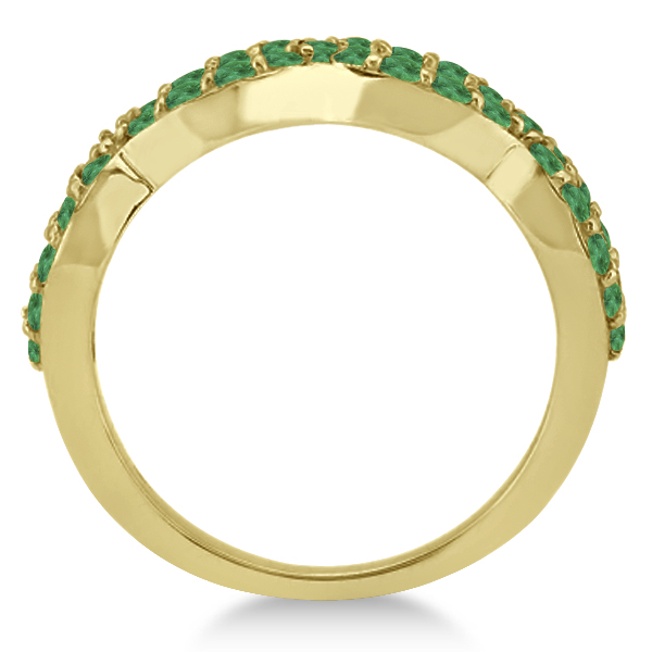 pave set twisted infinity emerald ring band 14k yellow