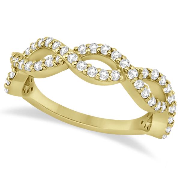 Twisted Infinity Semi-Eternity Diamond Band 14k Yellow Gold (0.60ct)