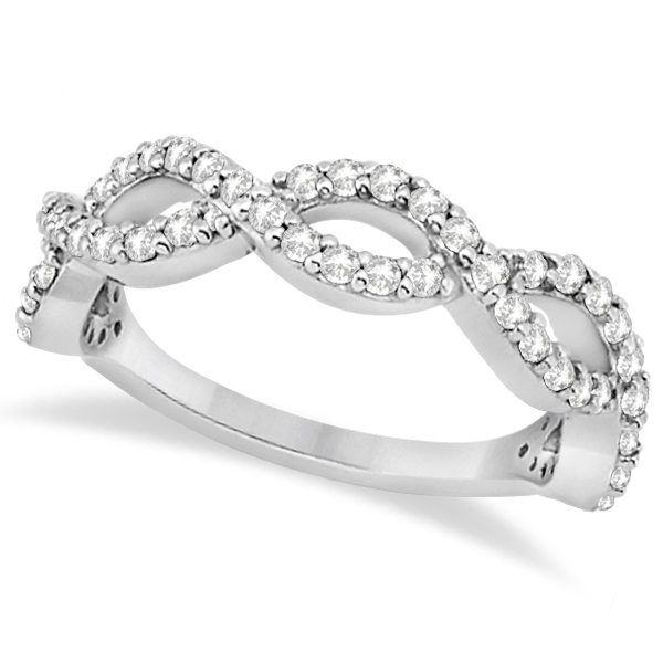 Twisted Infinity Semi-Eternity Diamond Band 18k White Gold (0.60ct)