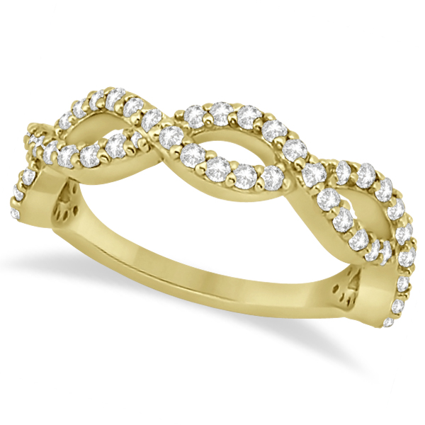 Twisted Infinity Semi-Eternity Diamond Band 18k Yellow Gold (0.60ct)