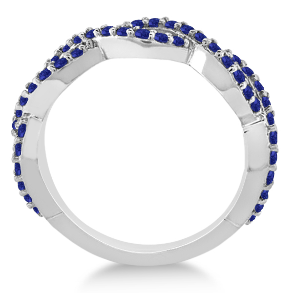 Infinity Semi-Eternity Blue Sapphire Ring 14k White Gold (1.40ct)