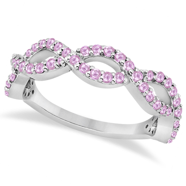 Infinity Semi-Eternity Pink Sapphire Band 14k White Gold (1.40ct)