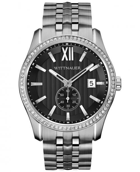 Men's Wittnauer Watch Gunmetal Dial Stainless Steel Quartz w/ Crystals