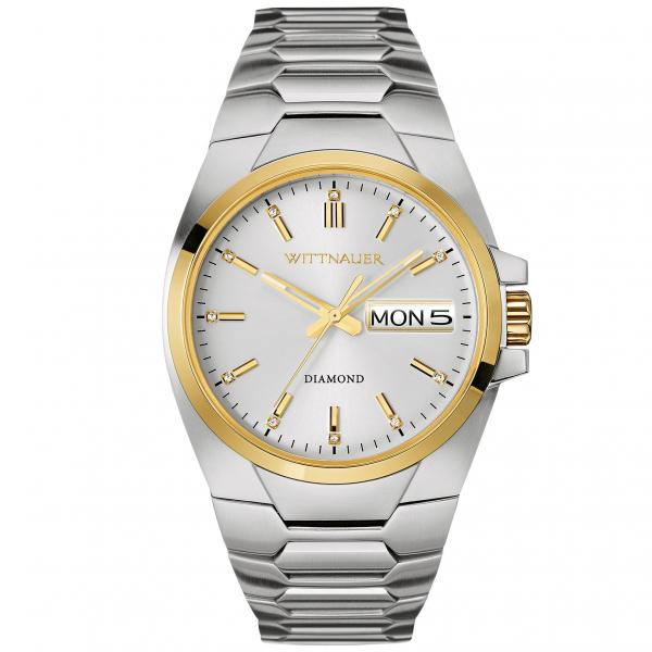 Men's Wittnauer Quartz Watch Diamond Accented Stainless Steel Bracelet