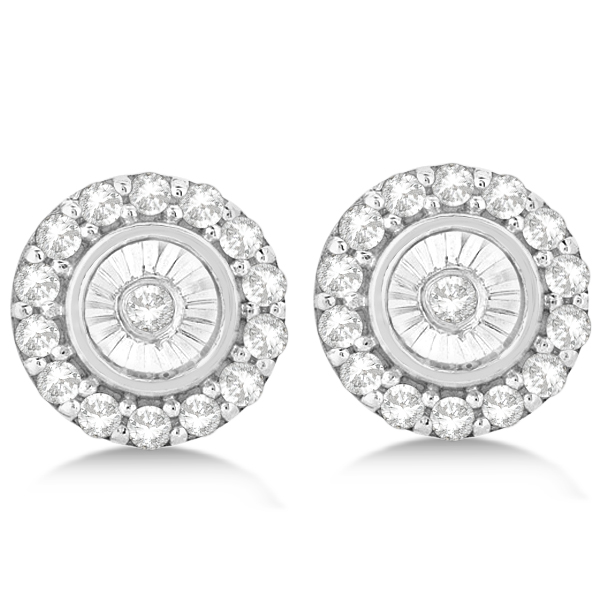 Miracle Set Cluster Halo Diamond Earrings Studs 14k White Gold 0.14ct
