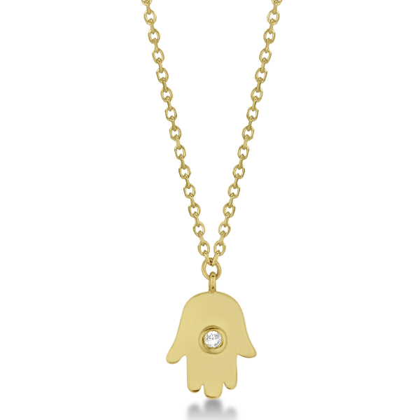 Ladies Hamsa Necklace with Round Diamond Accent 14k Yellow Gold 0.012ct