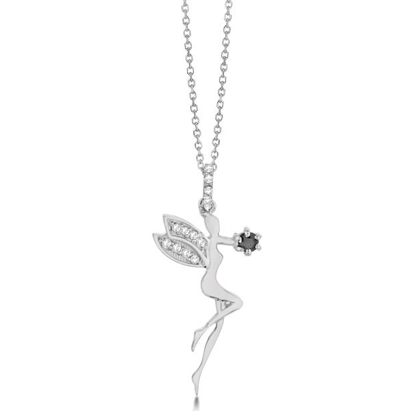 White & Black Diamond Fairy Pendant Necklace 14k White Gold 0.14ct