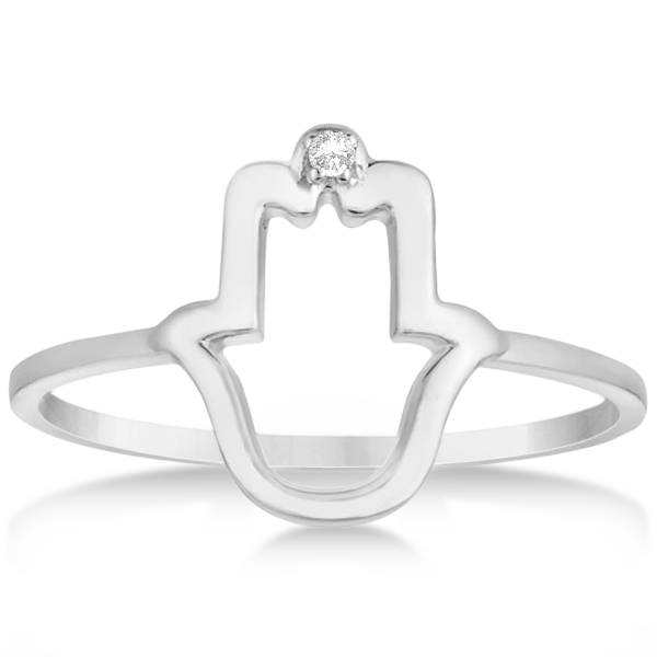 Hamsa Hand Ring with Diamond Accent for Women 14k White Gold 0.01ct