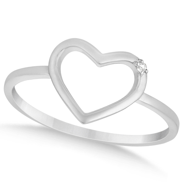 Open Heart Diamond Accented Ring in 14K White Gold for Women