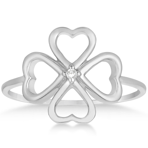 Ladies Four Leaf Clover Fashion Ring with Diamond 14k White Gold .01ct