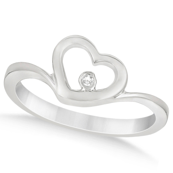 Open Heart Ring with Diamond Accent for Women in 14K White Gold 0.01ct