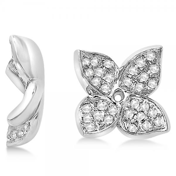 Diamond Butterfly Flower Earring Jackets in 14k White Gold (0.20ct)