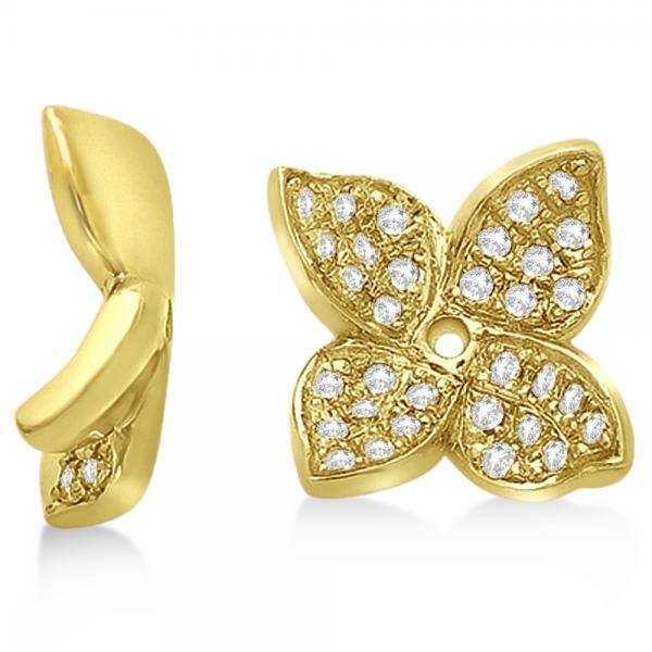 Diamond Butterfly Flower Earring Jackets in 14k Yellow Gold (0.20ct)