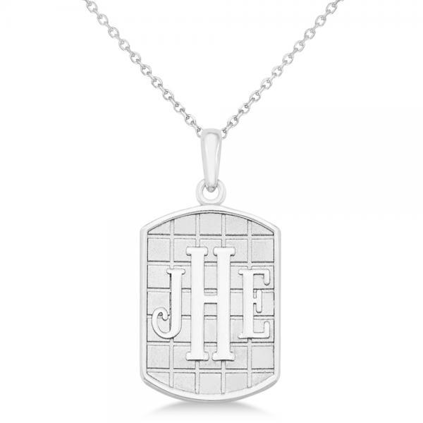 Sandblast Monogram Initial Dog Tag Necklace in 14k White Gold