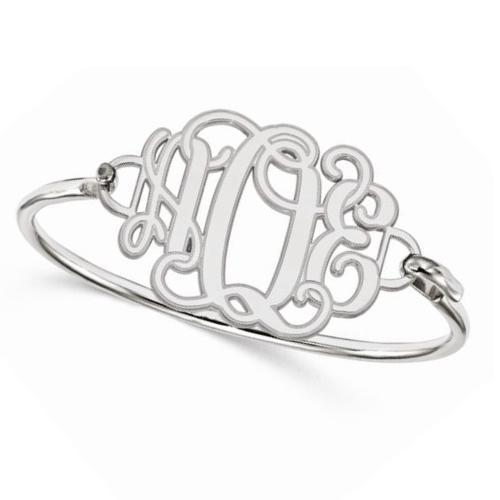 Three Initial Monogram Bangle Bracelet White Gold w Sterling Silver